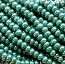 6/0 Czech Seed Bead Hank Opaque Dark Green Lustre